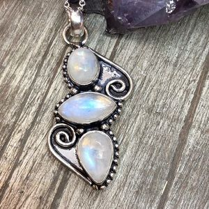 Rainbow moon stone flue flash necklace 925 stamped